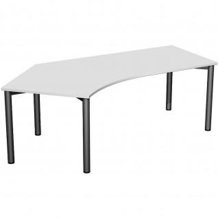 Gera Winkel-Schreibtisch 4 Fuß Flex 135° links 2166x1130mm ahorn buche lichtgrau weiß - Vorschau 5
