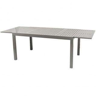 Großer Gartentisch Ausziehtisch Aluminium silbergrau 160/240x100x75cm