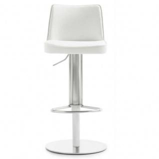 Mayer 1233 Design Lift Barhocker My Icona Edelstahl Leder Optik weiss