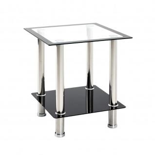 Beistelltisch Couchtisch Edelstahl Glas schwarz 40x40x46cm