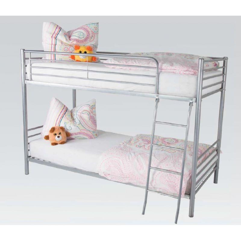 Etagenbett Jugendbett R0640 87 Metall Bett 90 X 200 Cm Silberfarben 2