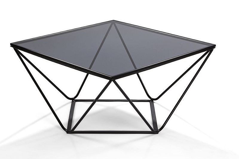 Moderner Couchtisch Metall Schwarz Rauchglas 75x75x40cm Kaufen