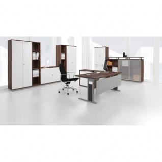 Schreibtisch Bürotisch C Fuß Pro Anbautisch Dreiviertelkreis links, 120 x 120 cm, Gera