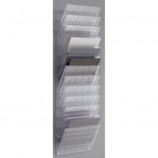 Wand Prospekthalter Set FLEXIBOXX 12, A4 Querformat 12 Fächer transparent