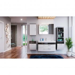 Badmöbel-Set Badezimmer Rima 6-teilig anthrazit-weiß