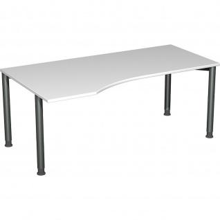 Gera PC-Schreibtisch Bürotisch 4 Fuß Flex Freiform links höhenverstellbar 1800x800/1000x680-800 mm ahorn buche lichtgrau weiß - Vorschau 4