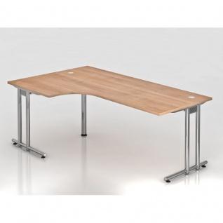 Büro Schreibtisch 200x120 cm Winkelform Modell NS82C mit Chromfüßen