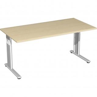 Gera Schreibtisch Bürotisch C Fuß Flex höhenverstellbar 1600x800x680-820mm ahorn buche lichtgrau weiß - Vorschau 3