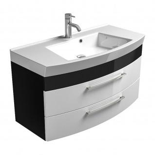 Badmöbel Badezimmer Gästebad Waschplatz Rima, 100 cm breit, MDF-Hochglanz Fronten - Vorschau 3