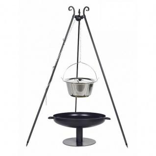 Outdoor Grill mit Feuerschale Pan 41, Dreibein, Kessel Edelstahl verschiedene Größen