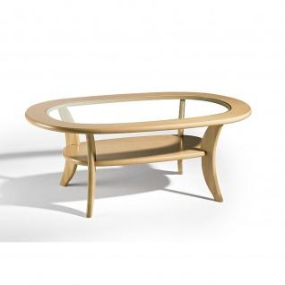 Massivholz Couchtisch Buche Tischplatte Klarglas Ablageboden 115x75x50cm