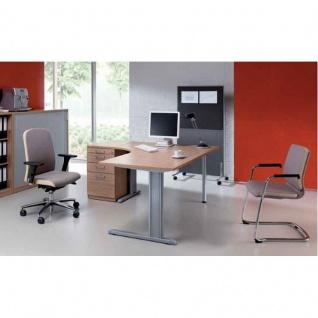 Schreibtisch Bürotisch E10 Toro Tiefe 80 x 60 cm Freiform C-Fuß Gestell alu oder weiß Stahltraverse ohne Höheneinstellung