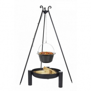 Outdoor Grill mit Feuerschale Pan 38, Dreibein, Kessel Edelstahl verschiedene Größen