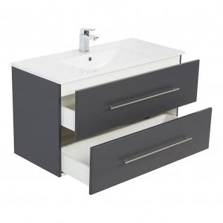 Badmöbel Waschplatz Waschbecken HOMELINE 100cm mit Unterschrank anthrazit seidenglanz - Vorschau 3