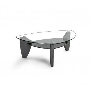 Moderner Couchtisch Klarglas/Rauchglas/MDF mit Ablageboden 138x92x46cm