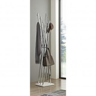 Design Garderobenständer Standgarderobe Owen chrom-weiß 12 Haken