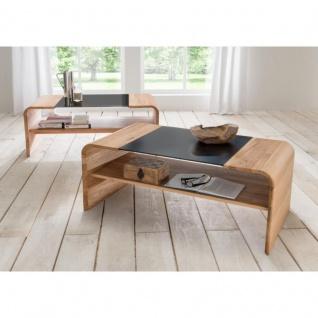 Woodlive Massivholz Couchtisch Xenia Glasplatte schwarz Hochglanz Maße 110 cm x 60 cm