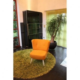 Toms Trendmoebel Sessel Relaxsessel Retrosessel Mike II Massiv Stoff Opal 373 orange
