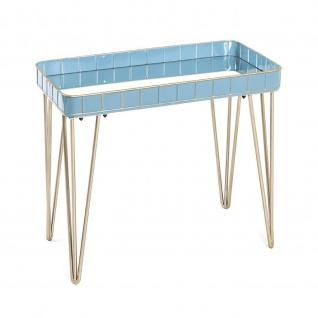 Beistelltisch Couchtisch blau-bronze Metall/Spiegelglas 60x31x54 cm