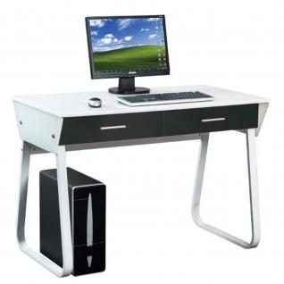 Schreibtisch Computertisch Meins Hochglanz weiss Front schwarz 110 x 75 x 55 cm