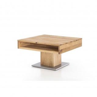 Woodlive Massivholz Couchtisch Alan mit Schubkasten Kernbuche/Wildeiche Maße 75 x 75 cm - Vorschau 2