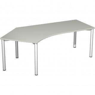 Gera Winkel-Schreibtisch 4 Fuß Flex 135° links 2166x1130mm ahorn buche lichtgrau weiß - Vorschau 4