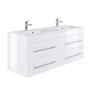 Badmöbel Waschplatz Doppel-Waschbecken HOMELINE 140cm mit Unterschrank weiß Hochglanz