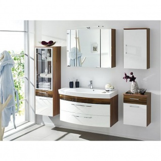 Badmöbel Badezimmer Rima 5-teilig, komplett, walnuss Nb.- weiß Hochglanz MDF-Fronten