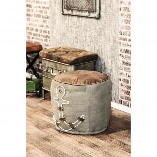 Sitzhocker Hocker Anker vintage Textil Sitz Echt Leder gepolstert
