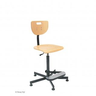 Arbeitsstuhl Bürostuhl Werek Footbase Holzsitz höhenverstellbar mit Fußablage