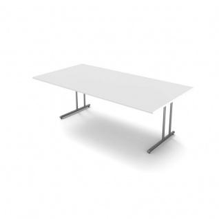 Kerkmann Schreibtisch START UP Extra groß 200x100x75 cm C-Fuß-Gestell alusilber inkl. Kabelkanal verschiedene Dekore