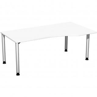 Gera PC-Schreibtisch Bürotisch 4 Fuß Flex Freiform rechts höhenverstellbar 1800x800/1000x680-800mm ahorn buche lichtgrau weiß - Vorschau 2