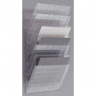Wand Prospekthalter Set FLEXIBOXX 6, A4 Querformat 6 Fächer transparent