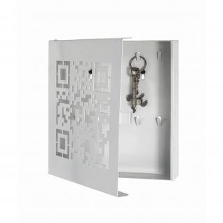 Schlüsselkasten QR-Code 10 Haken Metall weiß