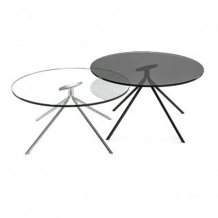 Moderner Couchtisch Metall verchromt/Klarglas Tischplatte rund D:70cm H:33 cm