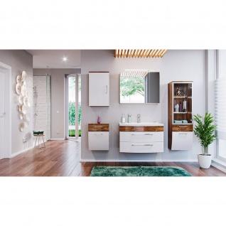 Badmöbel-Set Badezimmer Rima 6-teilig Walnuss-Weiß