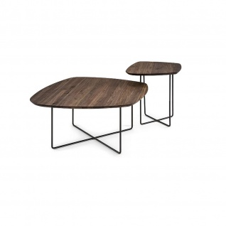 Massivholz Couchtisch System Soft Freiform Nussbaum/Metall 90x90x43cm