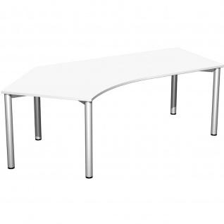 Gera Winkel-Schreibtisch 4 Fuß Flex 135° links 2166x1130mm ahorn buche lichtgrau weiß - Vorschau 2