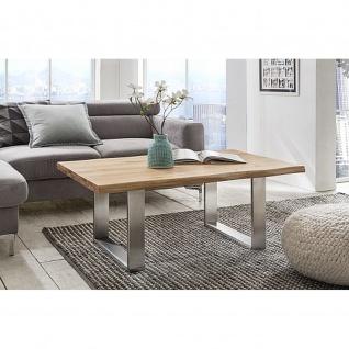 Woodlive Massivholz Couchtisch Ventus Edelstahl Tischuntergestell Wildeiche Maße 110 cm x 70 cm