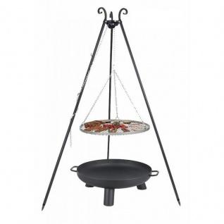Outdoor Grill mit Feuerschale Pan 37, Dreibein, Rost Edelstahl o. Rohstahl verschiedene Größen