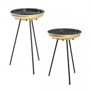 Beistelltisch Couchtisch 2er Set Metall schwarz-gold