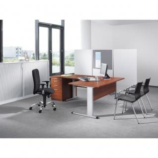 Schreibtisch Bürotisch E10 Toro Tiefe 60x60 cm Freiform C-Fuß Gestell alu oder weiß Stahltraverse ohne Höheneinstellung
