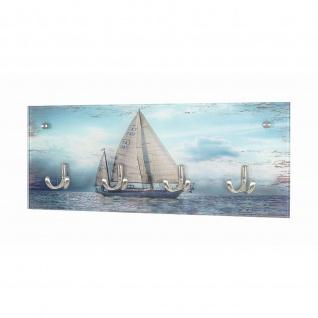 Garderobenleiste Wandgarderobe Printmotiv Sailing Sicherheitsglas 4 Haken Edelstahloptik