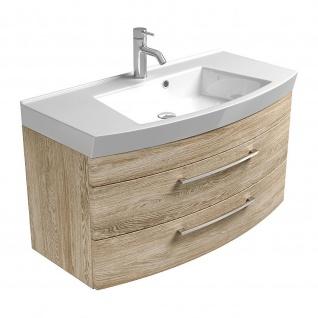 Badmöbel Badezimmer Gästebad Waschplatz Rima, 100 cm breit, MDF-Hochglanz Fronten - Vorschau 4