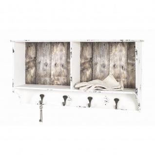 Garderobenleiste Wandgarderobe 4 Haken 2 Ablageflächen Vintageoptik weiß gewischt
