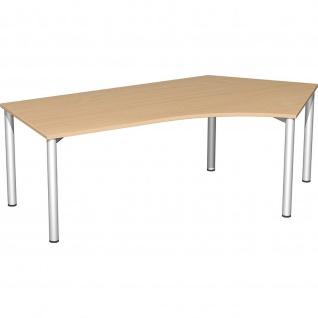 Gera Winkel-Schreibtisch 4 Fuß Flex 135° rechts 2166x1130mm ahorn buche lichtgrau weiß - Vorschau 4