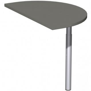 Schreibtisch Bürotisch T Fuß Flex Anbautisch halbrund, 50 x 80 cm, Gera