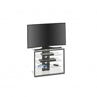TV- und HiFi-Rack, Metall anthrazit - Klarglas, 79 x 65, 6 x 40 cm