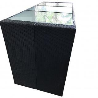 Bartisch Davos Polyrattan schwarz Tischplatte Glas
