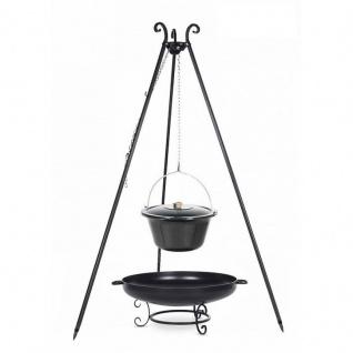Outdoor Grill mit Feuerschale Pan 42, Dreibein, Emaillierter Kessel verschiedene Größen